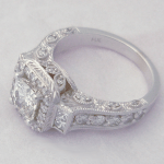 custom antique style diamond wedding ring with halo