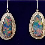 custom-black-opal-earrings-halo-diamonds-multicolored-gold
