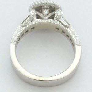 11199 Vintage Engagement Ring White Gold