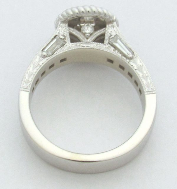 11199 Vintage Engagement Ring White Gold