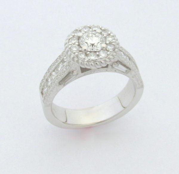 11199 Vintage Halo Diamond Ring Angle Cad Engraved