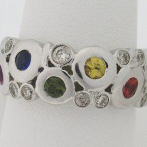 2476 Fancy Color Sapphires Diamonds Band Min