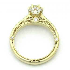 2520 Yellowgold Vintage Filigree Side Diamond Ring