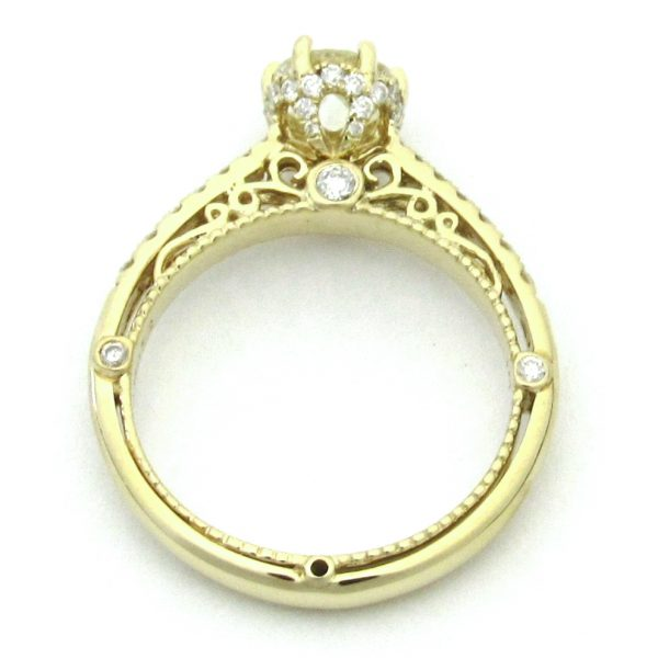 2520 Yellowgold Vintage Filigree Side Diamond Ring