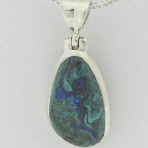 2603 Mineral Silver Necklace Malachite Min