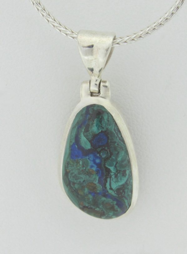 2603 Mineral Silver Necklace Malachite Min