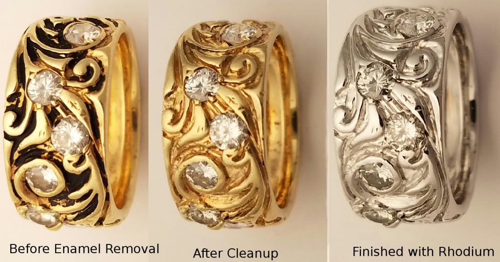 Before After Jewelry Repairs Enamel Removed Re Rhodium Wedding Band Petraskus Gold Diamond Band 1024x537