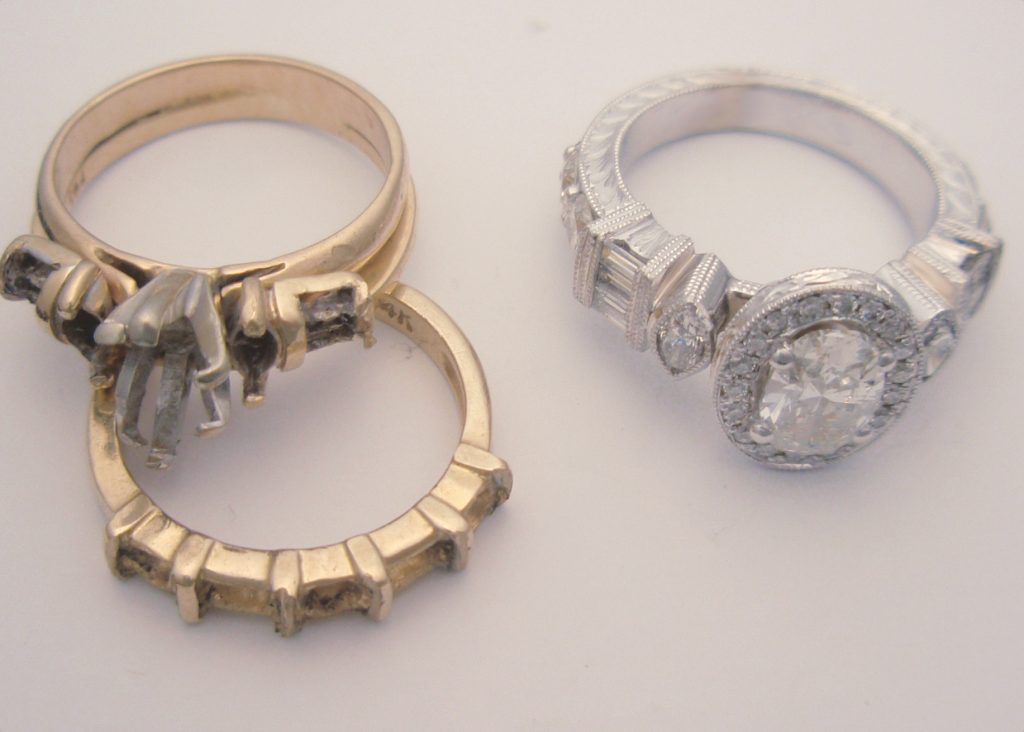 Spann Before Restyle Custom Ring Vintage Style Client Diamonds Cad Cam Jewelry Repairs 1024x732
