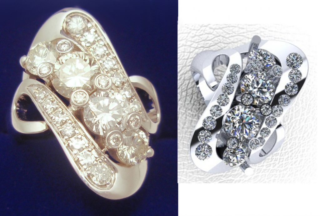 Swirl Bypass Dodd Family Diamond Ring Gold Ladies Cust Cad Before After Design Example 1024x693