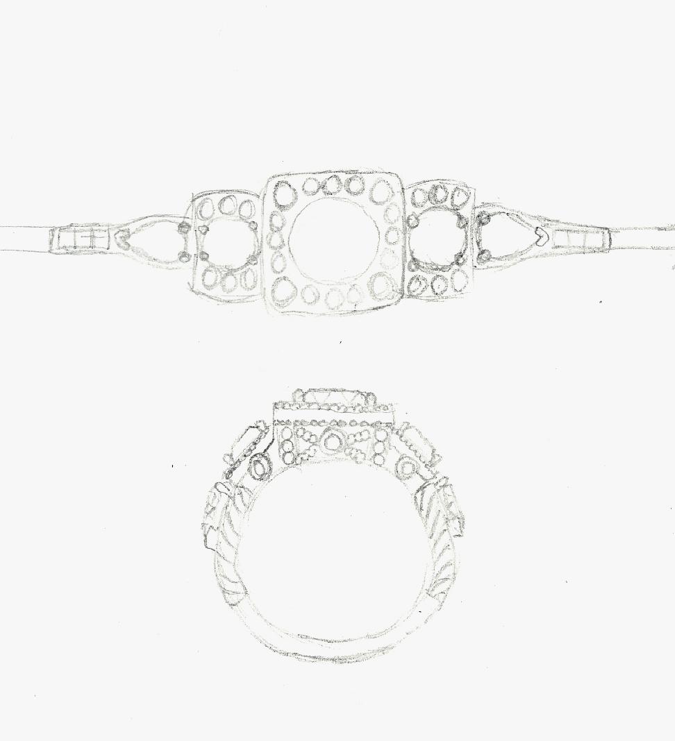 Drawing Matonti 3 Stone Ring Design Custom