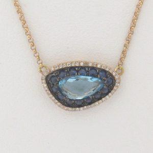 2449 Rose Gold Topaz Sapphire Sideways Necklace