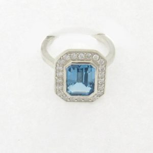 9002 Topaz Silver Diamond Ring