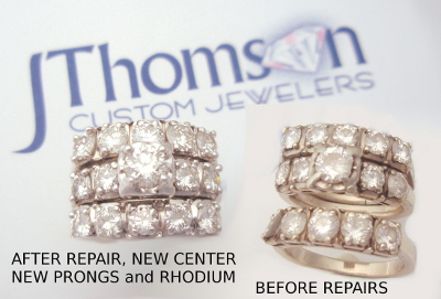 Before After Boggs Diamond Wedding Set Repair Prongs Tips Jewelry Repairs