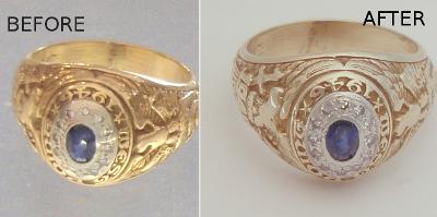 Before After Repair Rector Army Military Ring Gold Refurbish Symbol