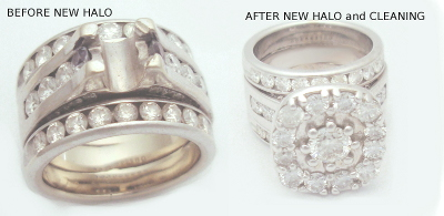 Capps Before After Jewelry Modification Wide Wedding Ring Restyle Halo Diamond Family Diamond