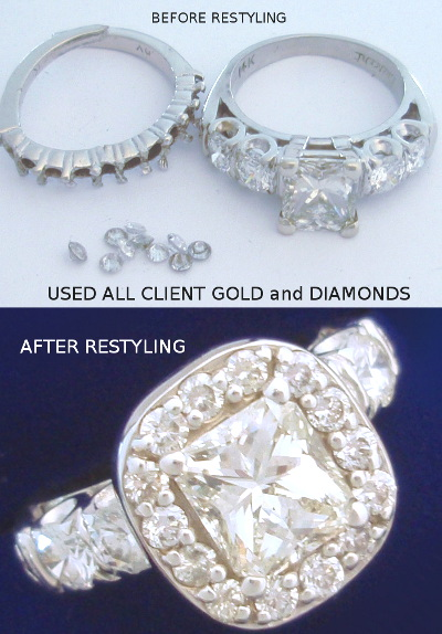 Custom Design Halo Ladies Before After Restyle Halo Cad Original Ring Princess Cut Diamond Modern Wedding Use Clients Gold And Diamonds Small